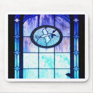 Blue Stain Glass with Dove Mouse Pad
