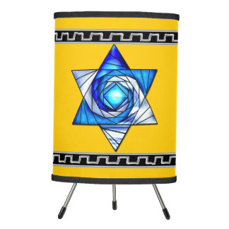Blue Stained Glass Art Deco Magen David on Yellow Tripod Lamp