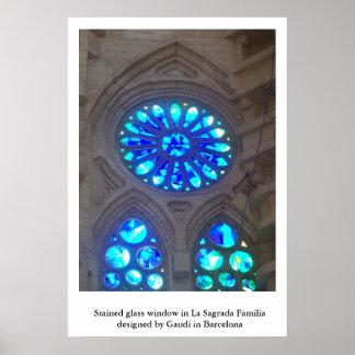 Blue Stained Glass in La Sagrada Familia Poster