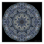 Blue Stained-Glass Mandala Poster