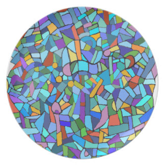 Blue Stained Glass Mosaic Design Dinner Plate