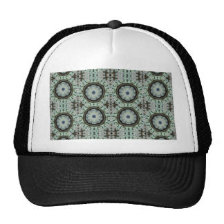 blue stained glass repeats trucker hats