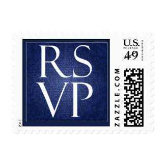 Blue Stained Glass RSVP - Small Postage Stamp