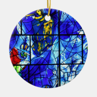 Blue Stained glass window Double-Sided Ceramic Round Christmas Ornament