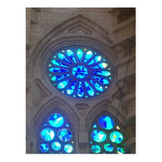 Blue Stained Glass Windows Postcard