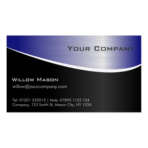 Blue Stainless Steel Effect, Business Card Business Card Template