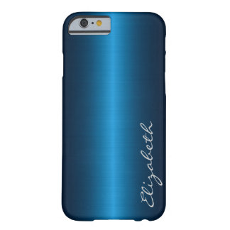 Blue Stainless Steel Metal Look Barely There iPhone 6 Case