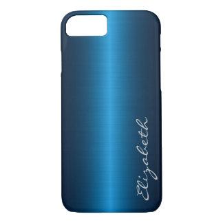 Blue Stainless Steel Metal Look iPhone 7 Case