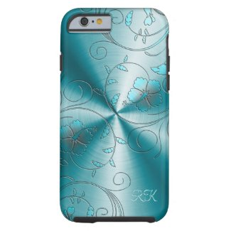 Blue Stainless Steel With Embossed Retro Flowers Tough iPhone 6 Case