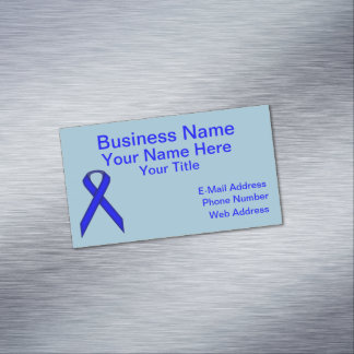 Blue Standard Ribbon Business Card Magnet