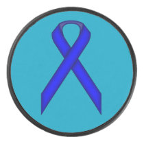 Blue Standard Ribbon by Kenneth Yoncich Hockey Puck