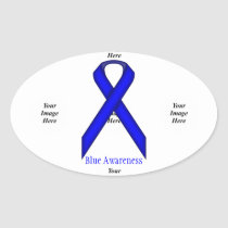 Blue Standard Ribbon by Kenneth Yoncich Oval Sticker