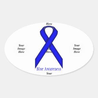 Blue Standard Ribbon by Kenneth Yoncich Oval Sticker