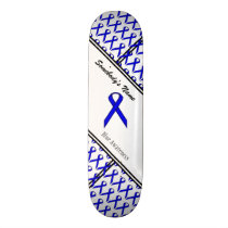 Blue Standard Ribbon by Kenneth Yoncich Skateboard Deck
