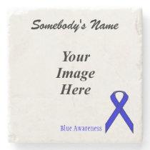 Blue Standard Ribbon by Kenneth Yoncich Stone Coaster