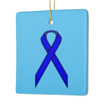 Blue Standard Ribbon Ceramic Ornament