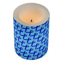 Blue Standard Ribbon Flameless Candle