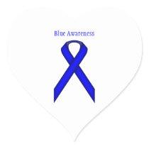 Blue Standard Ribbon Heart Sticker