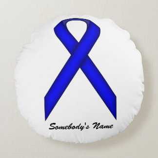 Blue Standard Ribbon Round Pillow
