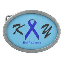 Blue Standard Ribbon Oval Belt Buckle