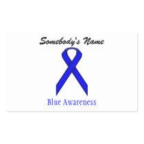 Blue Standard Ribbon Rectangular Sticker