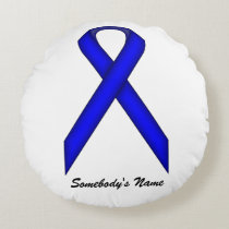 Blue Standard Ribbon Round Pillow