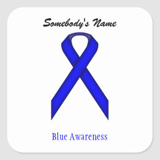 Blue Standard Ribbon Square Sticker