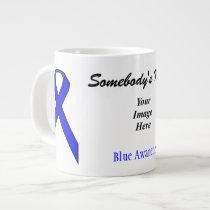 Blue Standard Ribbon Template by Kenneth Yoncich Large Coffee Mug