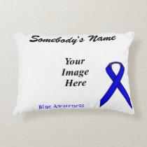 Blue Standard Ribbon Template Decorative Pillow