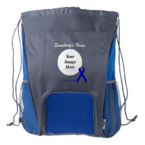 Blue Standard Ribbon Template Drawstring Backpack