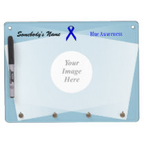 Blue Standard Ribbon Template Dry Erase Board With Keychain Holder