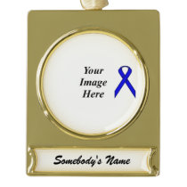 Blue Standard Ribbon Template Gold Plated Banner Ornament