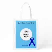 Blue Standard Ribbon Template Grocery Bag