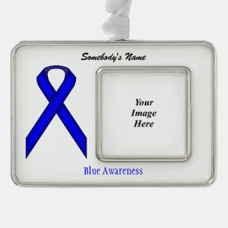 Blue Standard Ribbon Template (H-O) Silver Plated Framed Ornament