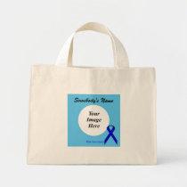 Blue Standard Ribbon Template Mini Tote Bag