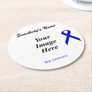 Blue Standard Ribbon Template Round Paper Coaster