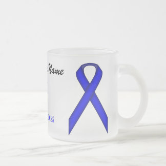 Blue Standard Ribbon Tmpl by Kenneth Yoncich Frosted Glass Coffee Mug