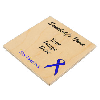 Blue Standard Ribbon Tmpl by Kenneth Yoncich Wood Coaster
