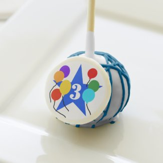 Blue Star and Balloons 3rd Birthday Cake Pops