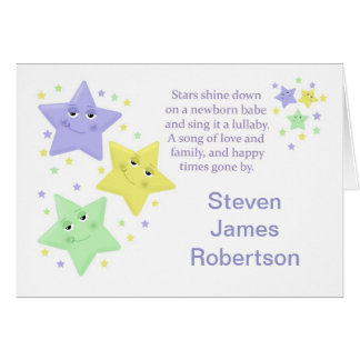 Blue Star Baby Boy Birth Announcement - with Poem