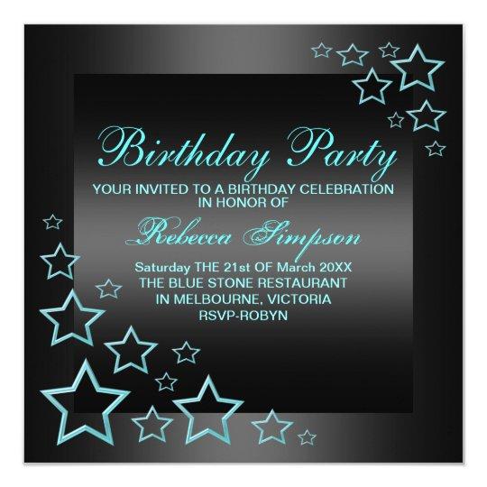 Blue Star Birthday Invitation