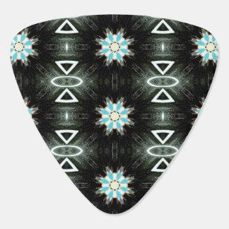 blue star-burst feathers guitar pick