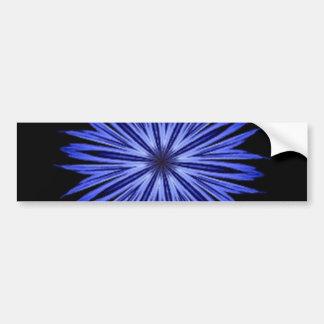 Blue Star Burst on Black Kaleidoscope Bumper Sticker