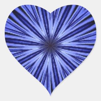 Blue Star Burst on Black Kaleidoscope Heart Sticker
