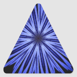 Blue Star Burst on Black Kaleidoscope Triangle Sticker