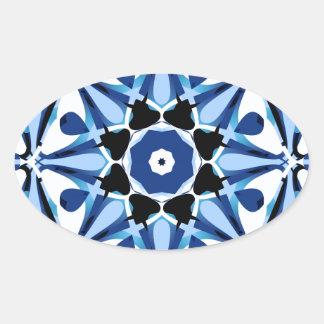 Blue Star Burst Oval Sticker