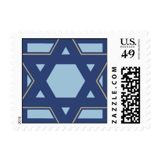Blue Star Burst Postage Stamp