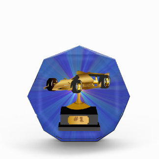 Blue Star Burst Race Car Trophy Award
