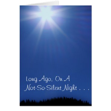 Christmas Themed Blue Star Christmas Card, w/Scripture Card