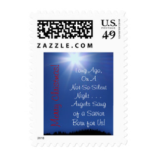 Blue Star Christmas Stamp at Zazzle